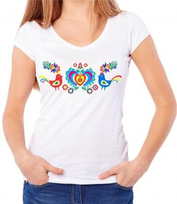 70bf9fb8b7f3 Dámske ľudové tričko s krátkym rukávom - Ľudový vzor srdiečko ǀ ...