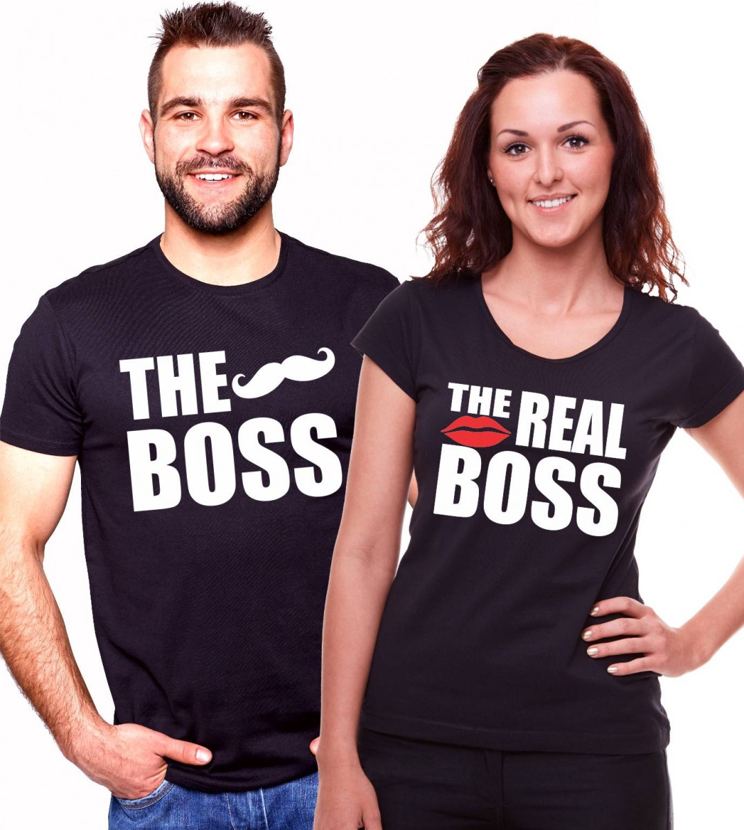 5e9deb8bac5f Partnerské trićká - The Boss The Real Boss valentínske tričká ǀ ...
