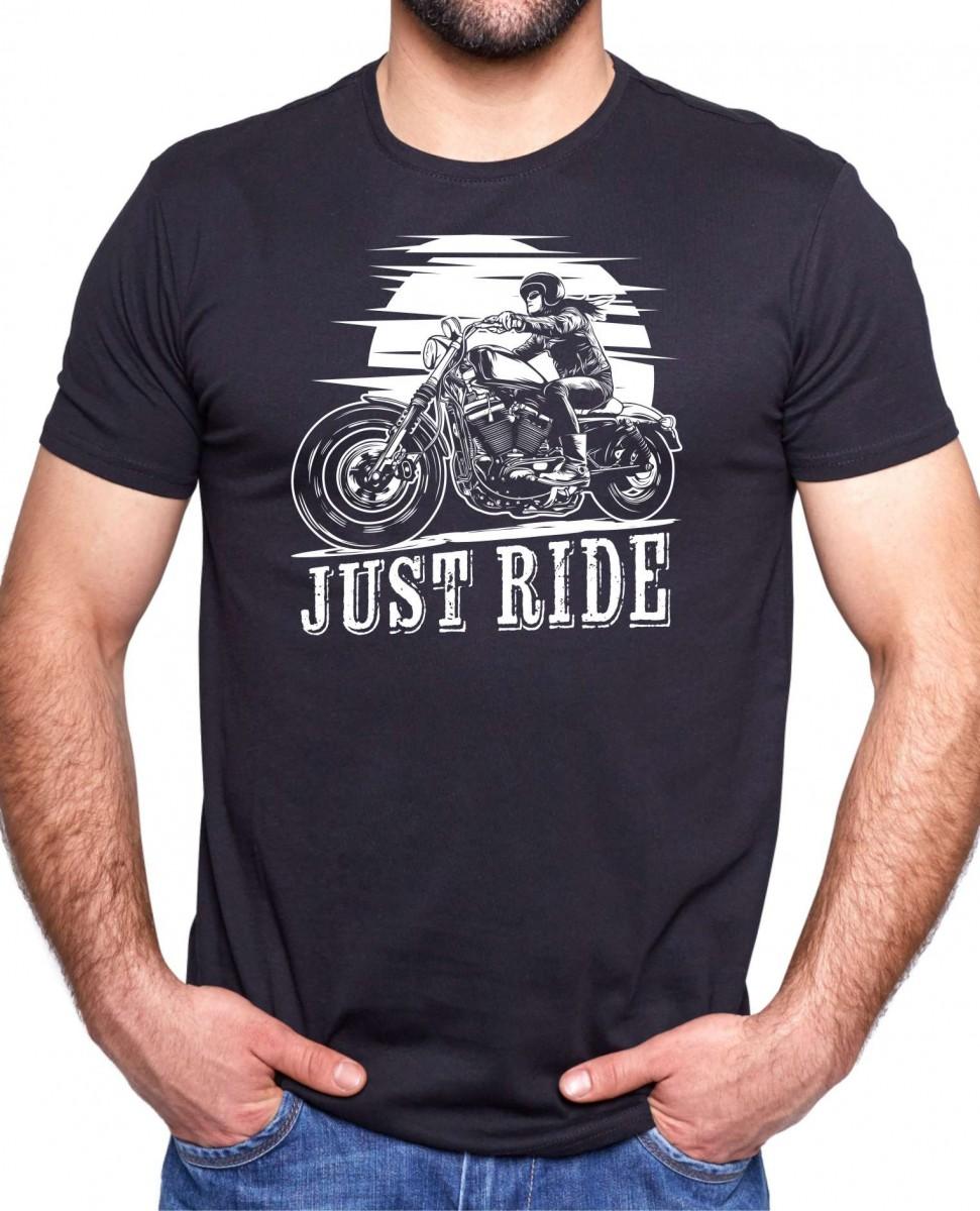 462c8d16ebf Vtipné moto tričko s potlačou pre motorkárov - Just ride I Fajntričko.sk