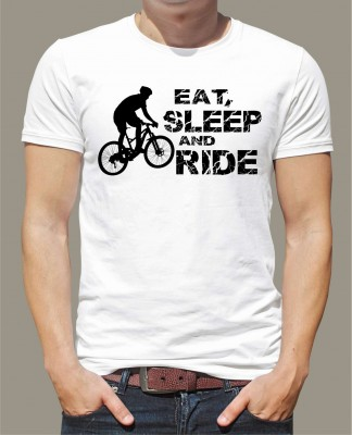 Cyklistické tričko - Eat, sleep and ride on bike