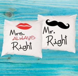 Sada 2ks Obliečky na vankúš - Mr. Right - Mrs. Always right
