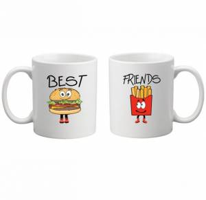 Sada: 2 hrnčeky - BEST FRIENDS - FAST FOOD